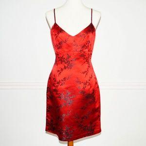 Vintage 1990s Vivienne Tam Red Silk Blend Dress